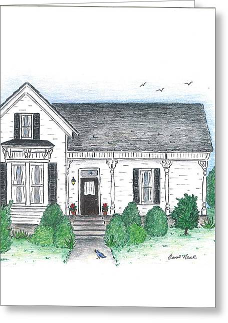 Country Cottage Drawings Greeting Cards - Welcome Home Greeting Card by Carol Neal