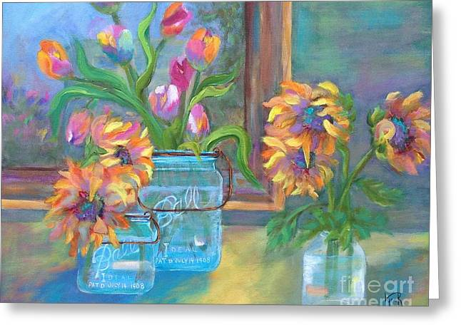 Ball Jars Greeting Cards - Welcome Home Greeting Card by Lynn Rattray