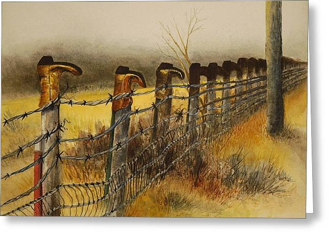 Old Fence Posts Paintings Greeting Cards - Welcome Greeting Card by Joy Bradley