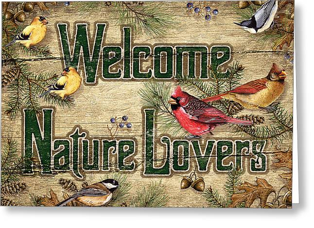 Song Birds Greeting Cards - Welcome Nature Lovers Greeting Card by JQ Licensing