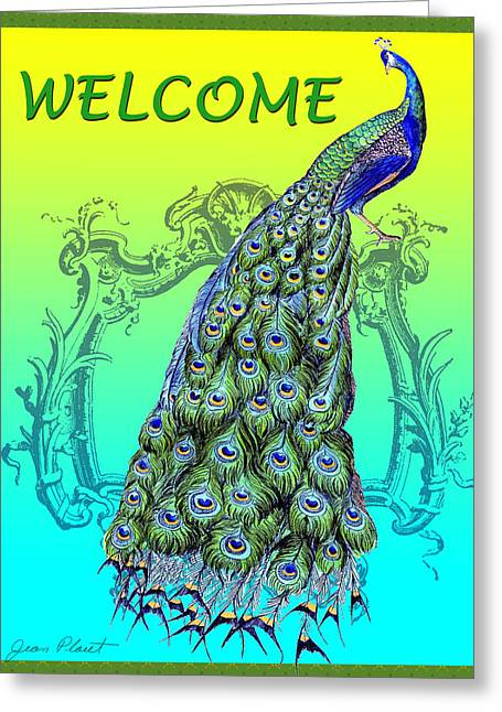 Welcome Signs Greeting Cards - Welcome Peacock-61212 Greeting Card by Jean Plout
