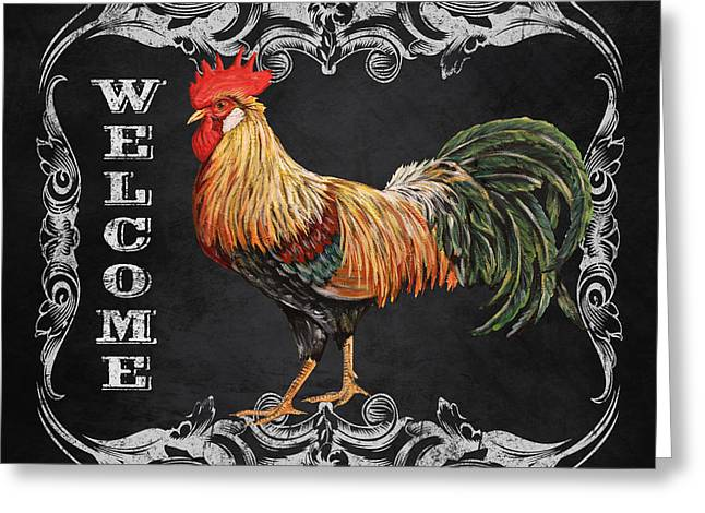 Fresh Produce Mixed Media Greeting Cards - Welcome Rooster-JP2618 Greeting Card by Jean Plout