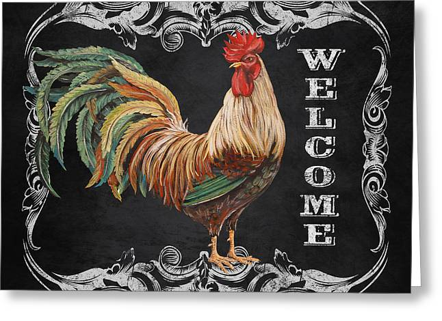 Fresh Produce Mixed Media Greeting Cards - Welcome Rooster-JP2619 Greeting Card by Jean Plout