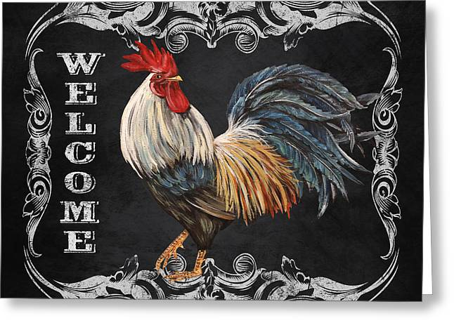 Fresh Produce Mixed Media Greeting Cards - Welcome Rooster-JP2620 Greeting Card by Jean Plout