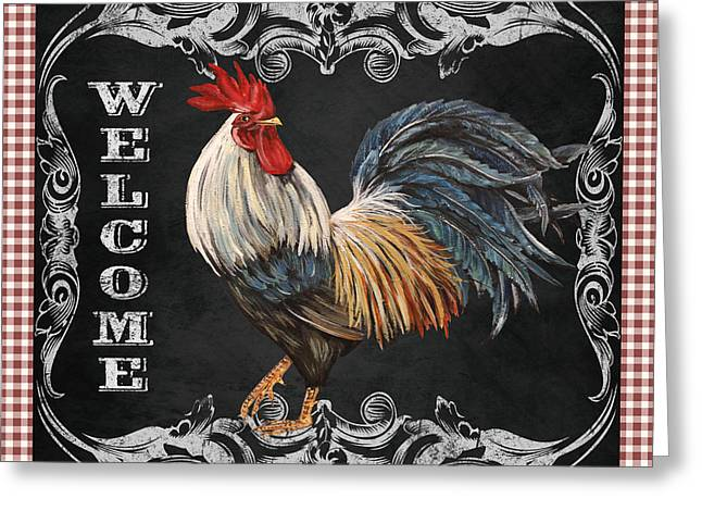 Fresh Produce Mixed Media Greeting Cards - Welcome Rooster-JP2622 Greeting Card by Jean Plout