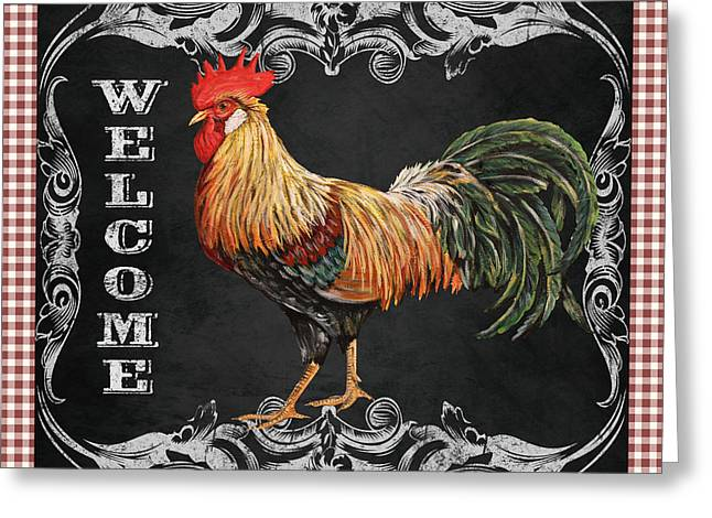 Fresh Produce Mixed Media Greeting Cards - Welcome Rooster-JP2623 Greeting Card by Jean Plout