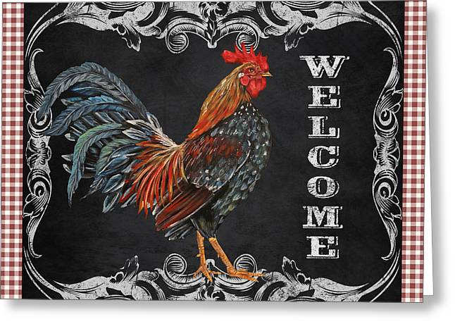 Fresh Produce Mixed Media Greeting Cards - Welcome Rooster-JP2625 Greeting Card by Jean Plout