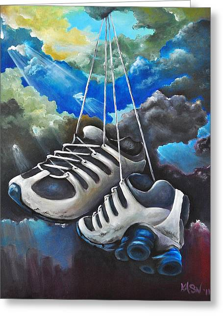 Sneakers Paintings Greeting Cards - Welcome Sign Greeting Card by Ka-Son Reeves