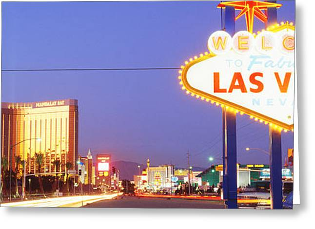 Brightly Lit Greeting Cards - Welcome Sign Las Vegas Nv Greeting Card by Panoramic Images