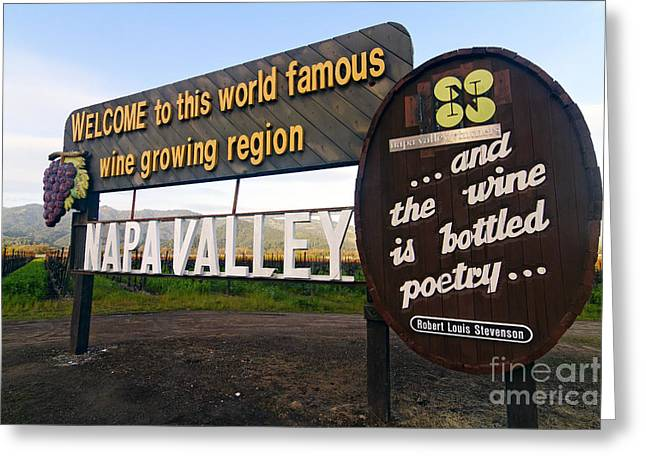 Calistoga Greeting Cards - Welcome Sign to Napa Valley Greeting Card by George Oze