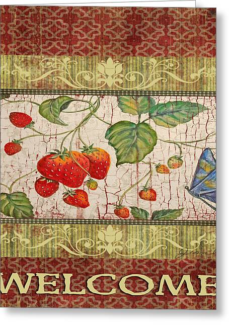 Strawberry Art Greeting Cards - Welcome Strawberries and Butterfly Greeting Card by Jean Plout