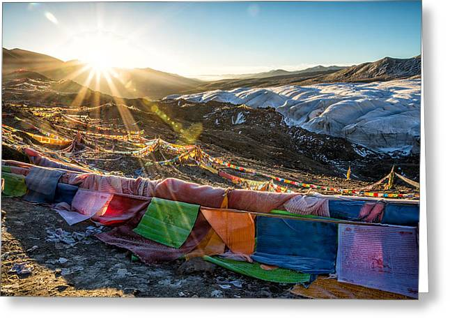 Tibetan Buddhism Greeting Cards - Welcome Sun Greeting Card by James Wheeler