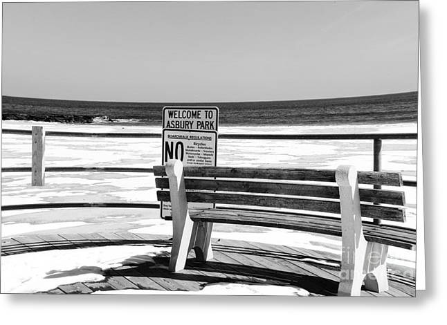 Alone In Asbury Park Greeting Cards - Welcome to Asbury Park in black and white Greeting Card by Paul Ward