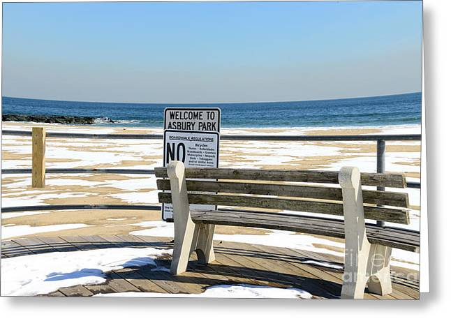 Alone In Asbury Park Greeting Cards - Welcome to Asbury Park Greeting Card by Paul Ward
