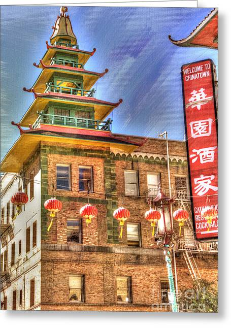 Architectural Detail Greeting Cards - Welcome to Chinatown Greeting Card by Juli Scalzi