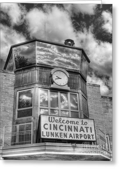 Control Towers Greeting Cards - Welcome To Cincinnati 2 BW Greeting Card by Mel Steinhauer