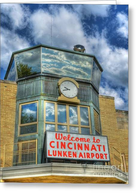 Control Towers Greeting Cards - Welcome To Cincinnati 2 Greeting Card by Mel Steinhauer