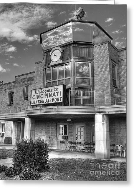 Control Towers Greeting Cards - Welcome To Cincinnati BW Greeting Card by Mel Steinhauer