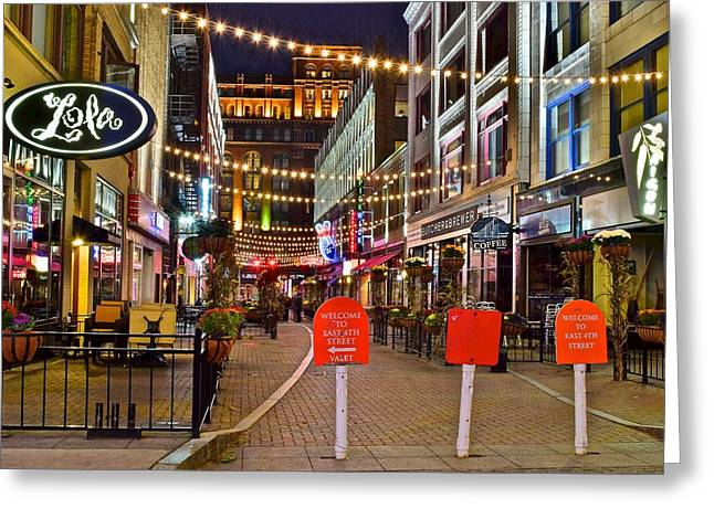 Town Square Greeting Cards - Welcome to East Fourth Street Greeting Card by Frozen in Time Fine Art Photography