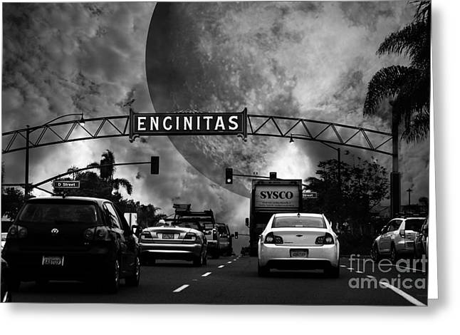 Sci-fi City Greeting Cards - Welcome To Encinitas California 5D24221 black and white Greeting Card by Wingsdomain Art and Photography