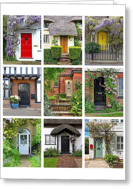 Welcome To England - Cottage Doors Greeting Card by Gill Billington