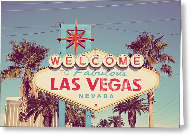 Las Vegas Art Greeting Cards - Welcome to Fabulous Las Vevas Greeting Card by Nastasia Cook