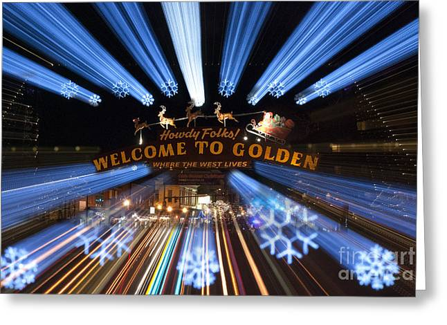 Yuletide Greeting Cards - Welcome to Golden Greeting Card by Juli Scalzi
