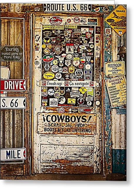 Welcome To Hackberry General Store Greeting Card by Priscilla Burgers
