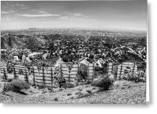 Hollywood Photographs Greeting Cards - Welcome to Hollywood - BW Greeting Card by Natasha Bishop