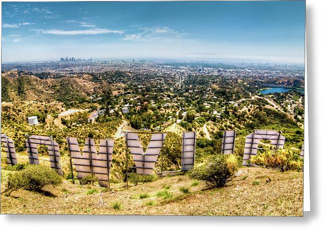 Panoramic Greeting Cards - Welcome to Hollywood Greeting Card by Natasha Bishop