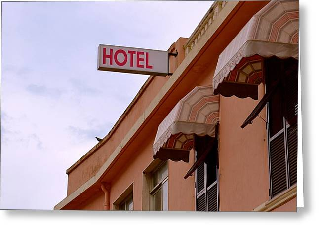 Welcome To Hotel Ventimiglia Greeting Card by Benoit Charon