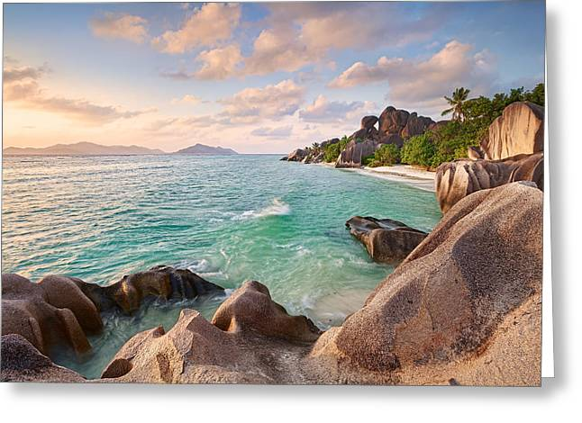 Argent Greeting Cards - Welcome to La Digue Greeting Card by Michael Breitung