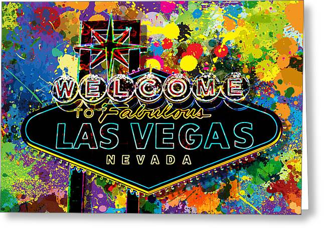 Signed Digital Greeting Cards - Welcome to Las Vegas Greeting Card by Gary Grayson