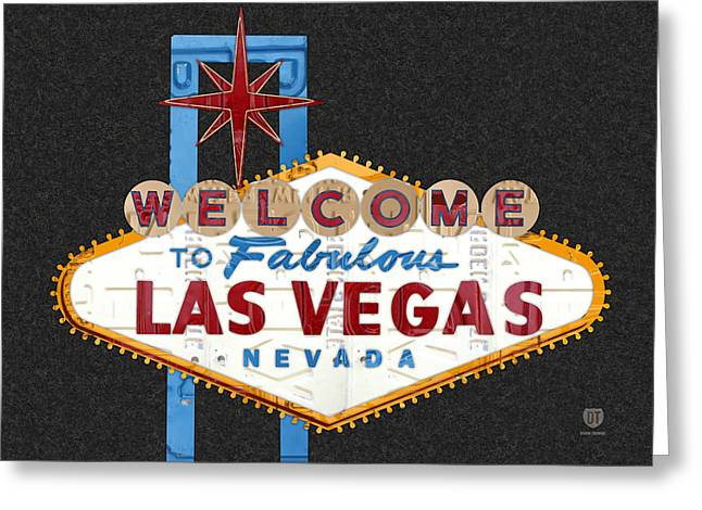 Las Vegas Greeting Cards - Welcome to Las Vegas Nevada Sign Recycled Vintage License Plate Art Greeting Card by Design Turnpike