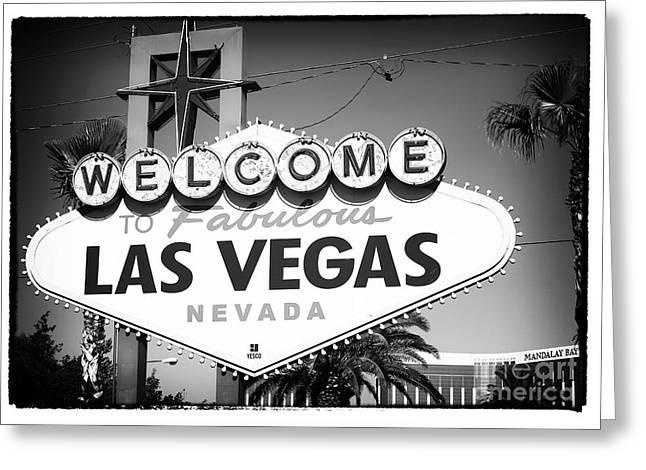 Las Vegas Art Greeting Cards - Welcome to Las Vegas Noir Greeting Card by John Rizzuto