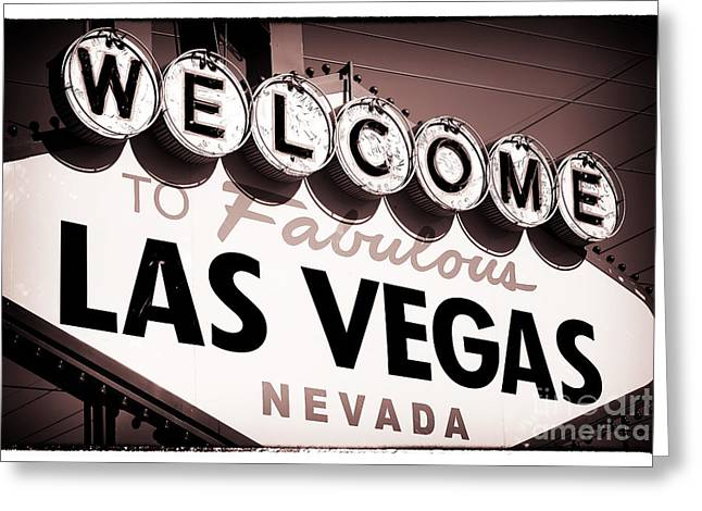 Welcome To Las Vegas Red Tone Greeting Card by John Rizzuto