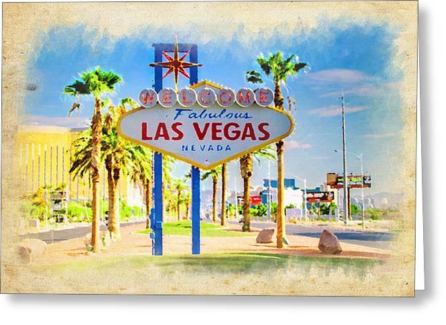 Las Vegas Art Greeting Cards - Welcome To Las Vegas Greeting Card by Ricky Barnard