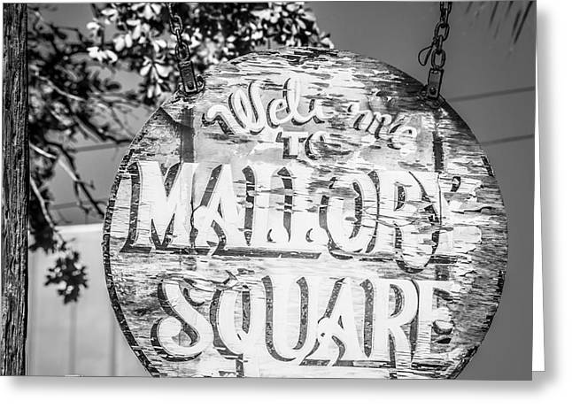 Liberal Greeting Cards - Welcome to Mallory Square Key West 2  - Square - Black and White Greeting Card by Ian Monk