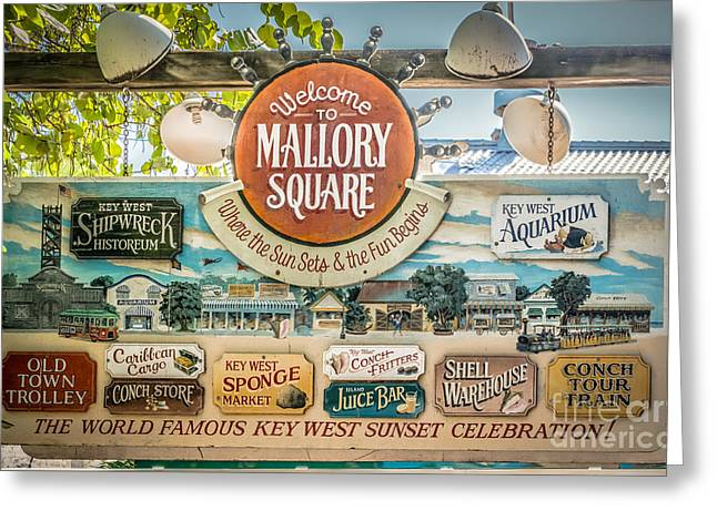 Welcome To Mallory Square Key West - Hdr Style Greeting Card by Ian Monk