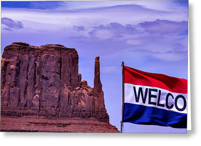 Flag Of Usa Greeting Cards - Welcome To Monument Valley Greeting Card by Garry Gay