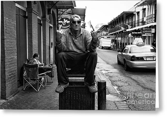 Welcome To New Orleans Mono Greeting Card by John Rizzuto