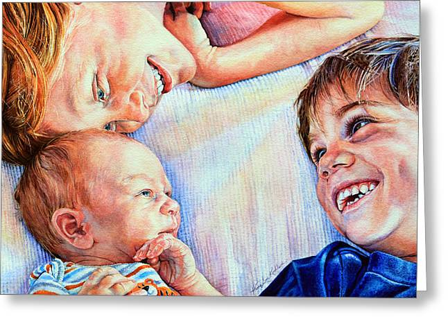New Baby Art Greeting Cards - Welcome To Our World Greeting Card by Hanne Lore Koehler