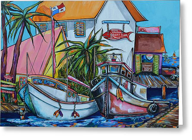 Docked Boat Greeting Cards - Welcome To Paradise Greeting Card by Patti Schermerhorn