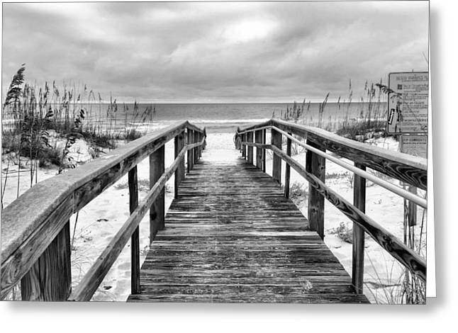 Florida Panhandle Greeting Cards - Welcome to Pensacola Beach BW Greeting Card by JC Findley