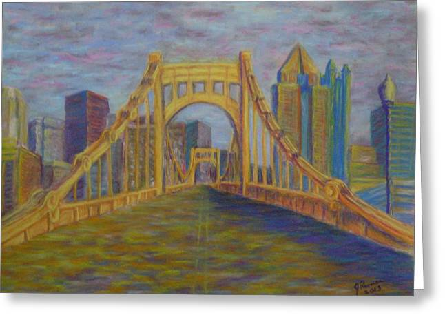 Pittsburgh Pastels Greeting Cards - Welcome To Pittsburgh Greeting Card by Joann Renner