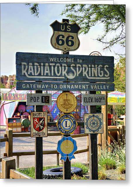Anaheim California Greeting Cards - Welcome To Radiator Springs Greeting Card by Ricky Barnard