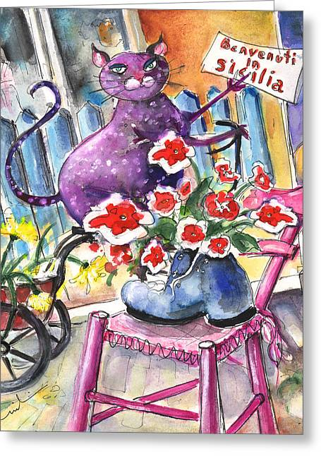Italian Shopping Drawings Greeting Cards - Welcome to Sicily Greeting Card by Miki De Goodaboom