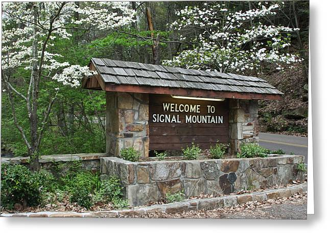 Welcome Signs Greeting Cards - Welcome to Signal Mountain Spring Greeting Card by Tom and Pat Cory