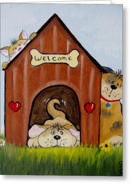 Doghouse Greeting Cards - Welcome to the Doghouse Greeting Card by Debra Campbell