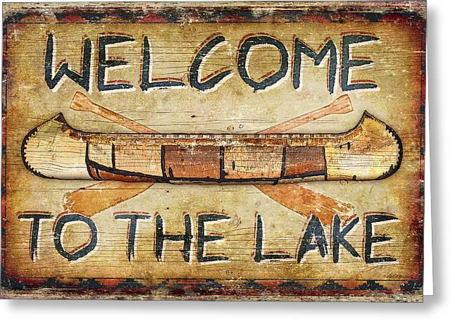 Canoe Paintings Greeting Cards - Welcome To The Lake Greeting Card by JQ Licensing